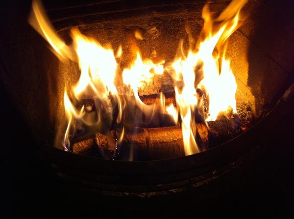 Cambridge Hotlogs burning on an open fire