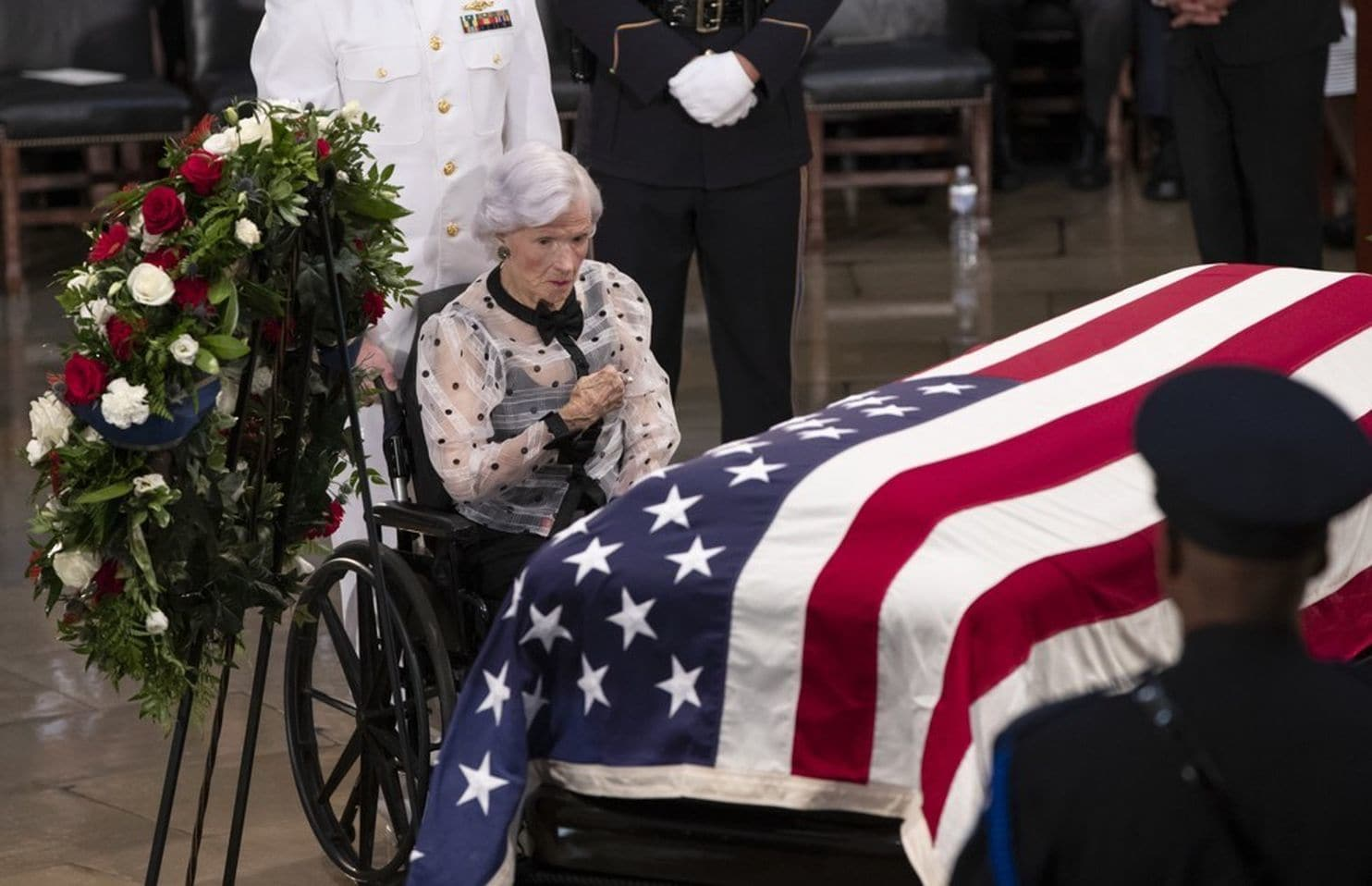 Roberta McCain at her son's funeral
