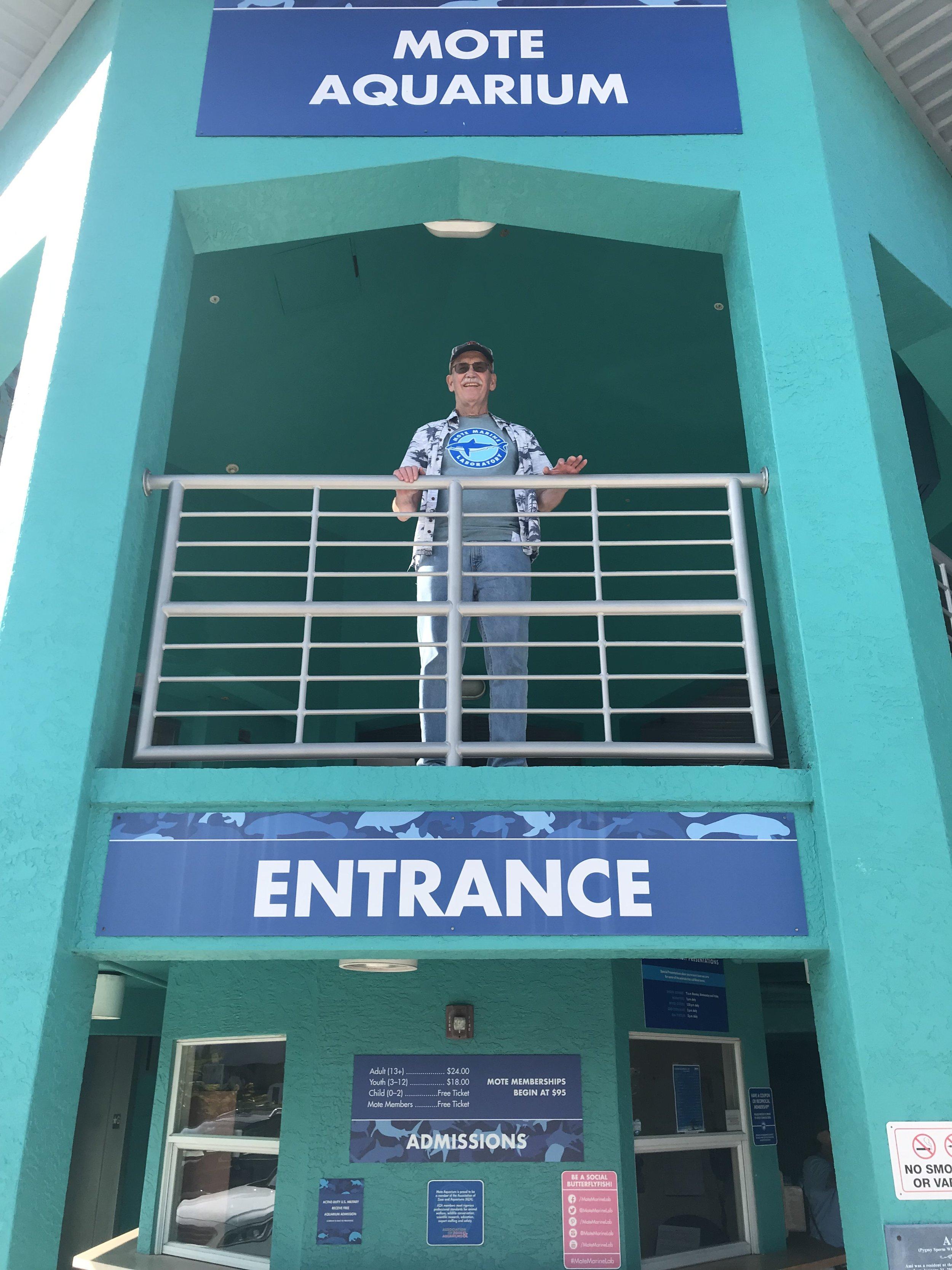 Jon atop entrance to the Mote Aquarium