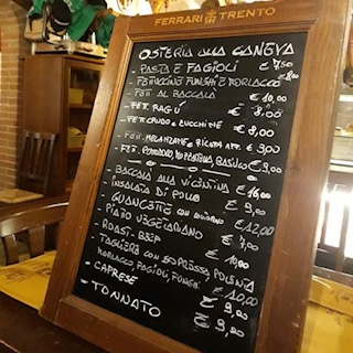 Blackboard Menu at Osteria Alla Caneva