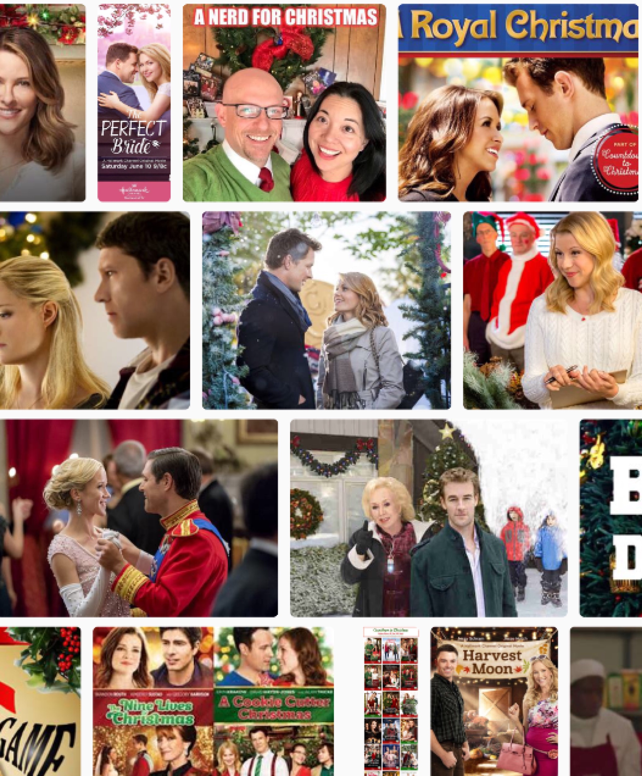 A collage of scenes from this year's  Hallmark Christmas Movies
