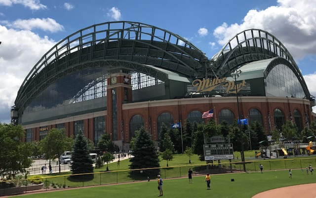 Miller Park with the roof open on a summer day