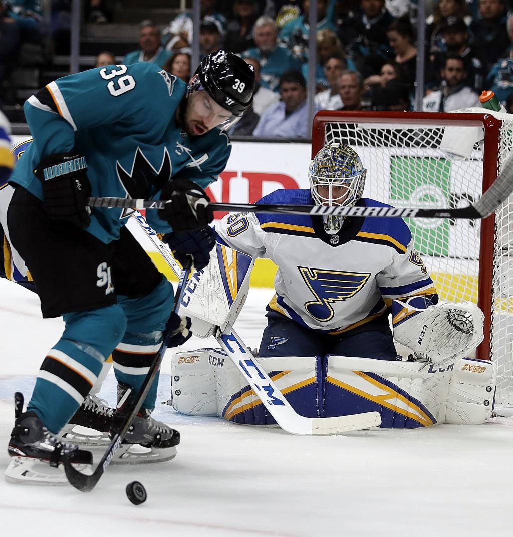 San Jose Sharks battle the St. Louis Blues