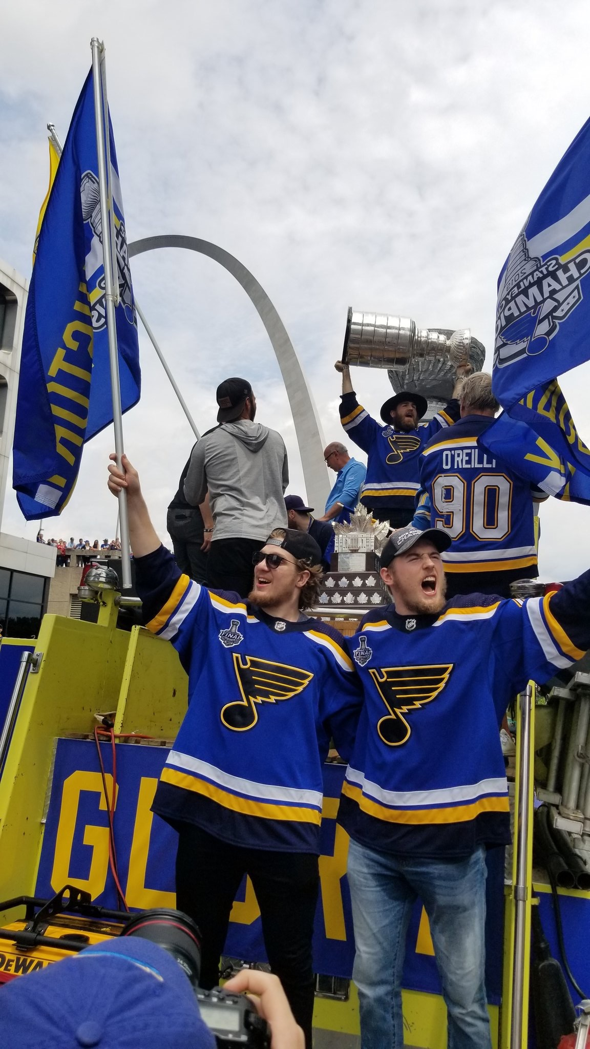 The STL Blues parade to the Arch