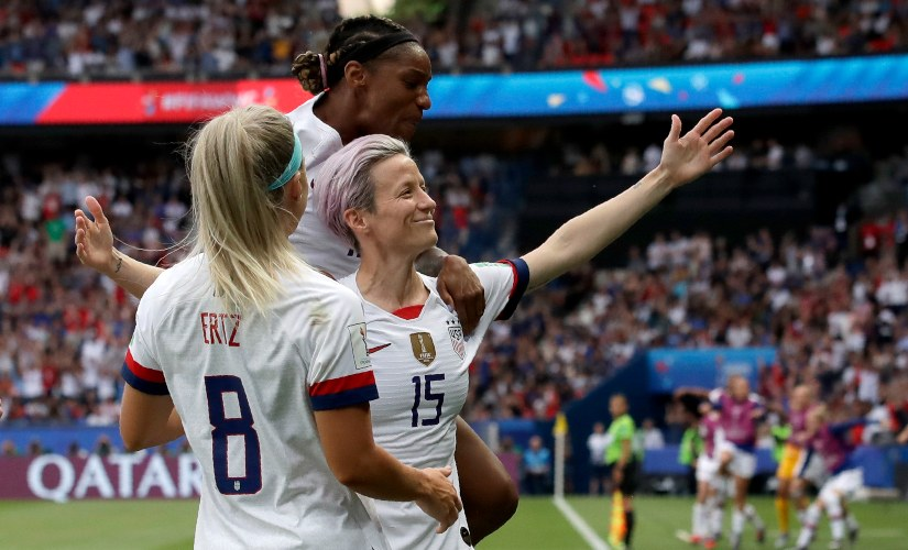 Megan Rapinoe scores against France