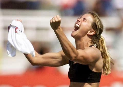 Brandi Chastain winning 1999 World Cup final