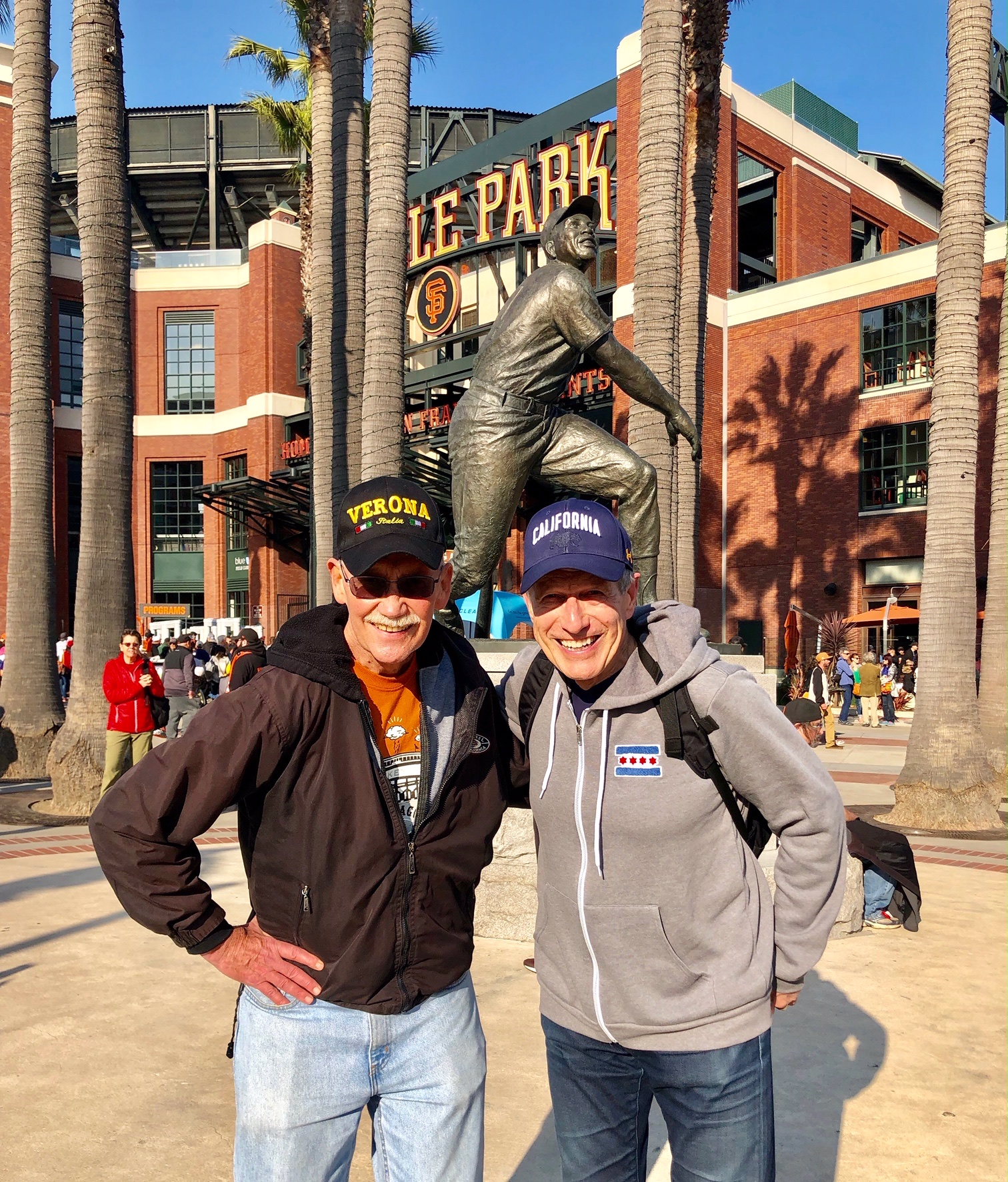 Vince and I in front of Willie Mays Statue