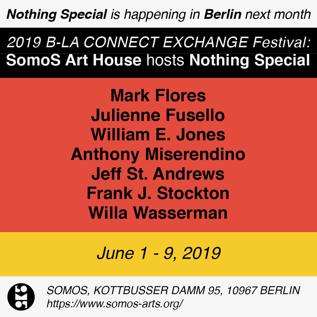 3. Berlin - SomoS Art House hosts Nothing SpecialWorks chosen for this exhibition were selected from a group of California-based artists whose practices include the fabrication of objects appropriately scaled for transport in a single, checked bag of airline luggage.Beyond the unifying factors of geography and scale, however, each artist also seems to address the topic of idealism or aspiration in one way or another.Works by William E. Jones and Jeff St. Andrews spotlight the presence of this theme at the state and civic levels, respectively; Mark Flores and Willa Wasserman pit evocative painting titles beside vaguely familiar imagery that evade the viewer's expectations; Julienne Fusello and I refer to the simplified aesthetic of popular media, evoking heroic tales of romance and adventure; and Anthony Miserendino wryly uses his own breath and technical virtuosity to make a halved fruit aspire to be whole once again.The very concept of spaces like Nothing Special, SomoS Art House, and the B-LA Connect exchange reveal an underlying optimism about art and its ability to connect people. And that is something worth flying halfway around the world for.-Frank J. Stockton