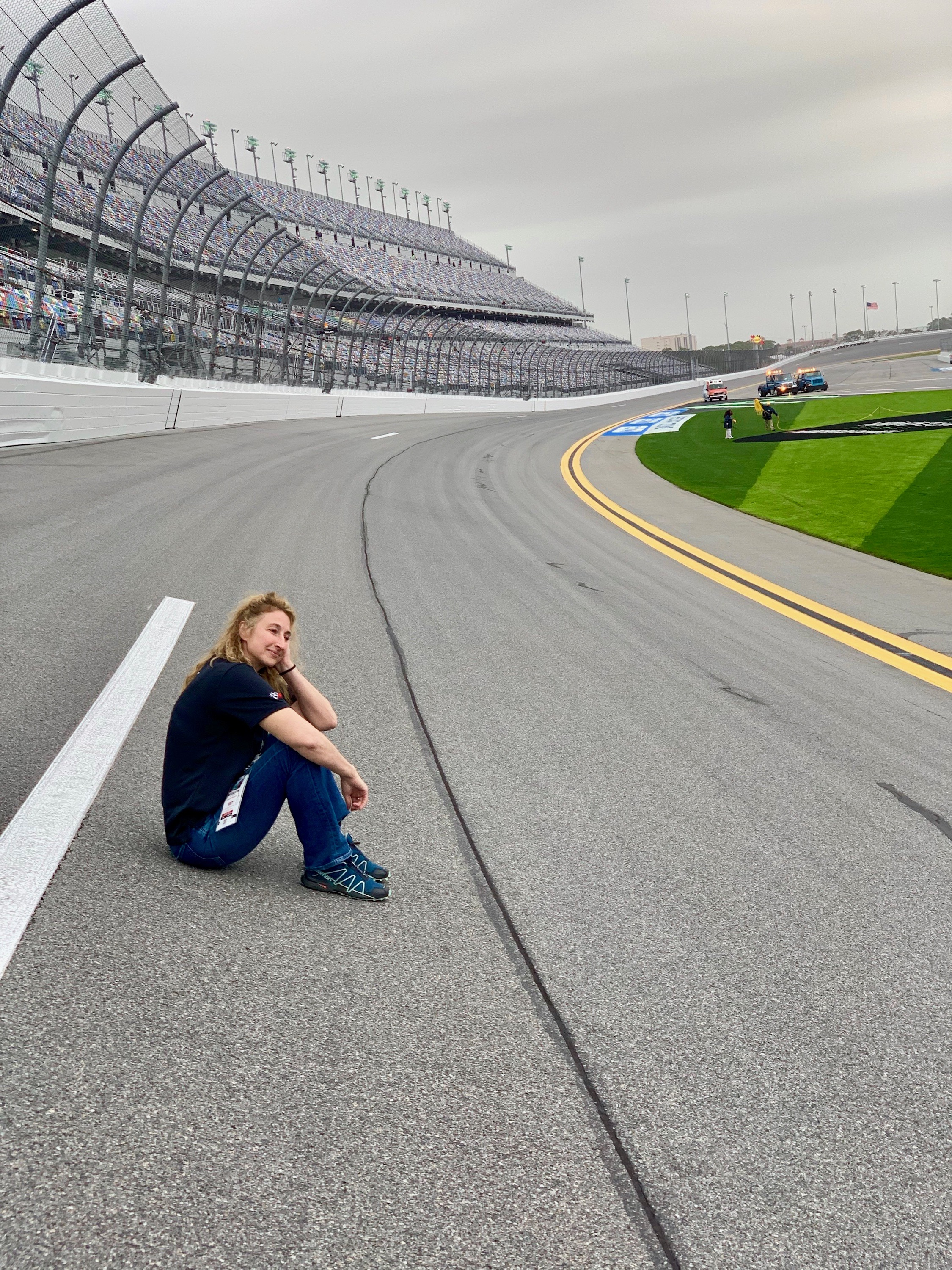 This looks like a good spot to wait at the Daytona International Speedway.