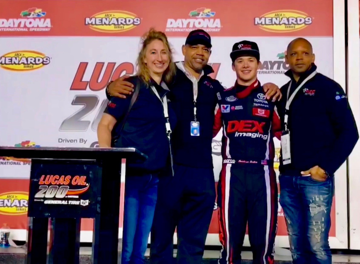 In Victory Lane with ARCA winner Harrison Burton and Dr. Jason Cormier of the Motorsports Safety Group.