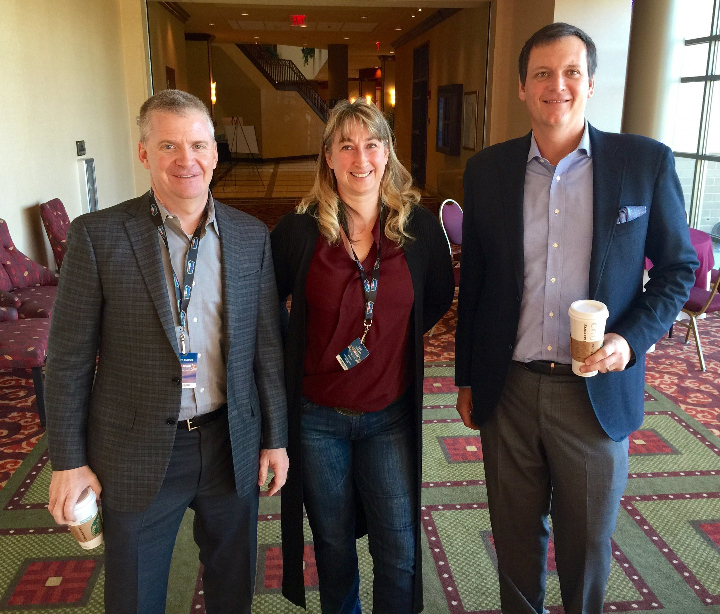 Running into NASCAR Driver Jeff Burton and NASCAR Crew Chief (and Mainer) Steve LeTarte while waiting to present at the NASCAR Summit.