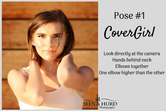 "I love this pose because it creates some visual interest and answers the question - ""what do I do with my hands?"". The key to making this pose successful is a direct gaze into the lens and keeping the higher elbow parallel to the ground."