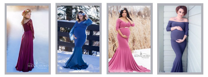 From left to right: Charlie in Berry, Everly in Denim Blue, Scarlett in Mauve, Mia in Charcoal