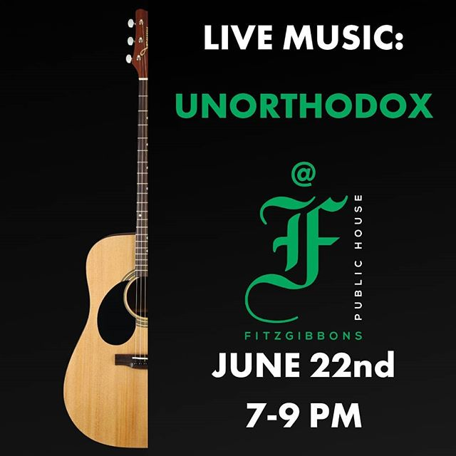 What are your plans this weekend? 😉  Unorthodox with Joel and Stacy will be here this Saturday night from 7-9 pm! We will see you there.