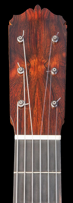 Headstock detail showing friction pegs and book matched head veneer