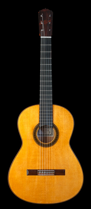 European spruce flamenco guitar on concert classical plantilla