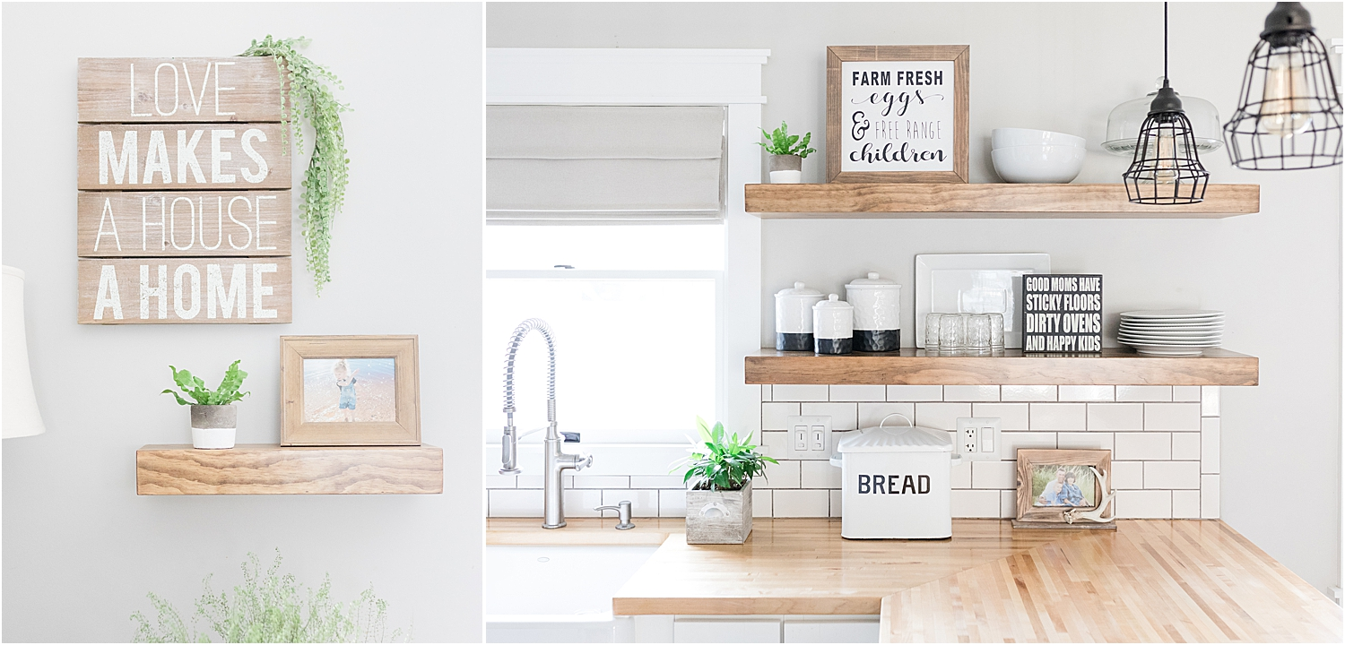 Farmhouse style kitchen with floating shelves and hand painted wood signs