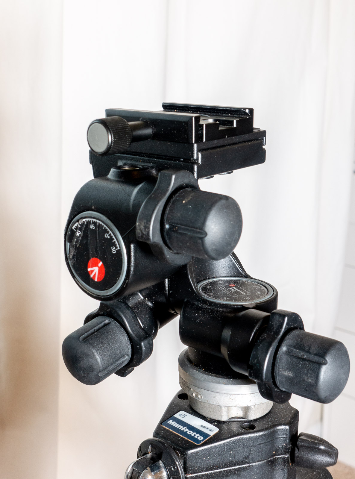 Finished DIY Arca Swiss compatible clamp on the Manfrotto 410 Junior geared tripod head, for use with an L-Bracket.