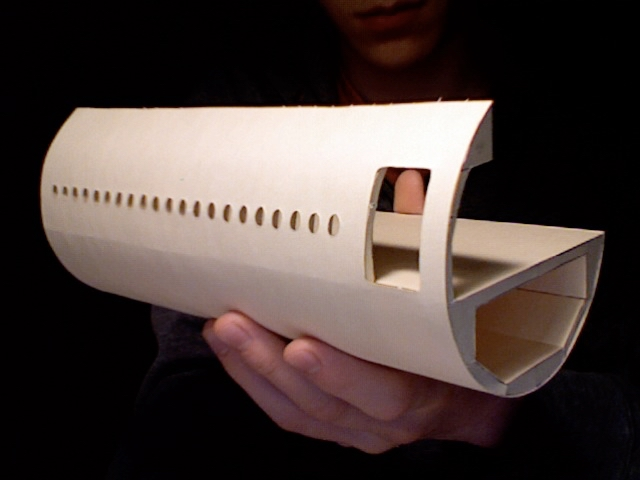 A completed fuselage section