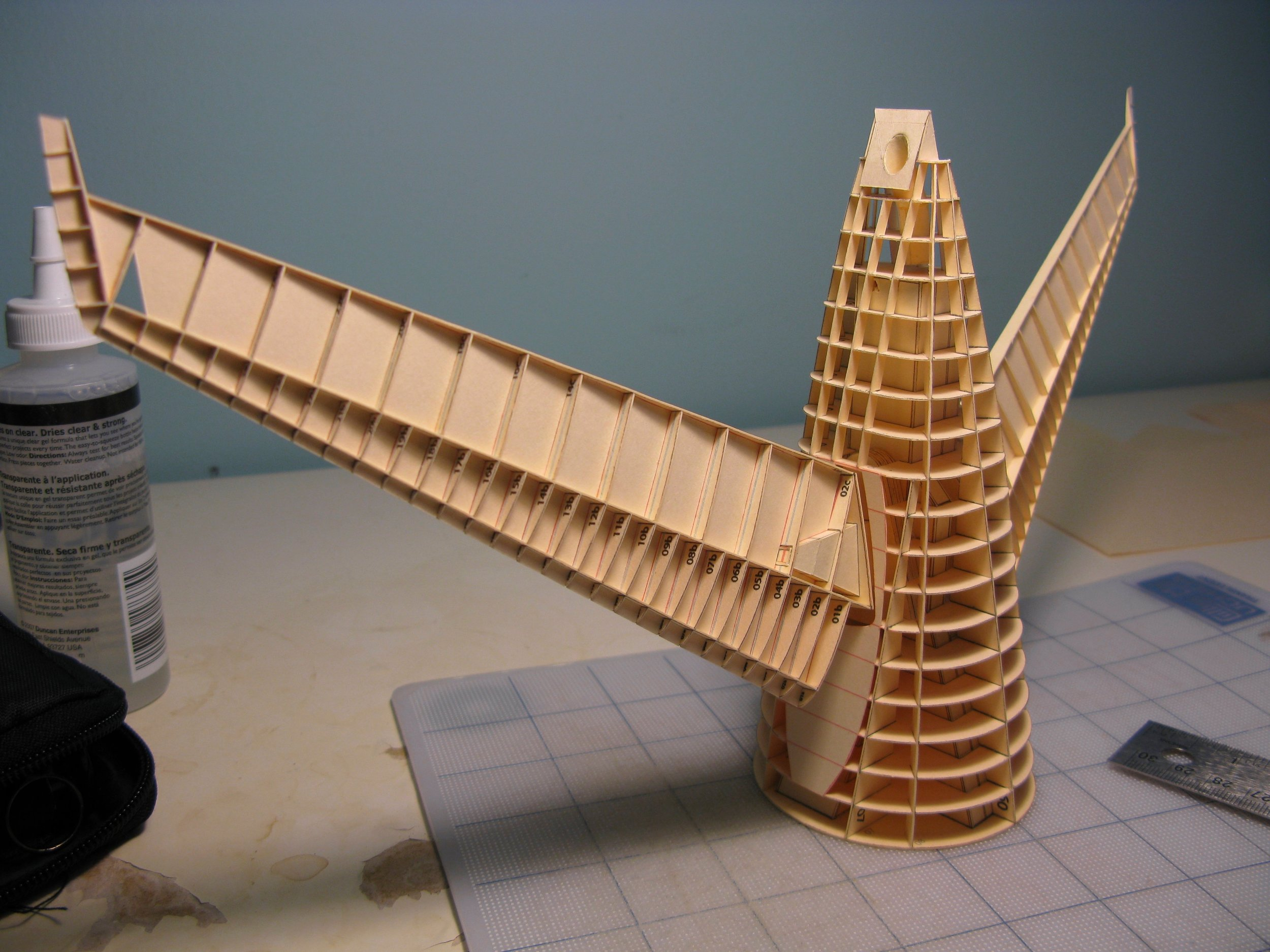 The tail section of the fuselage, along with the horizontal stabilizers