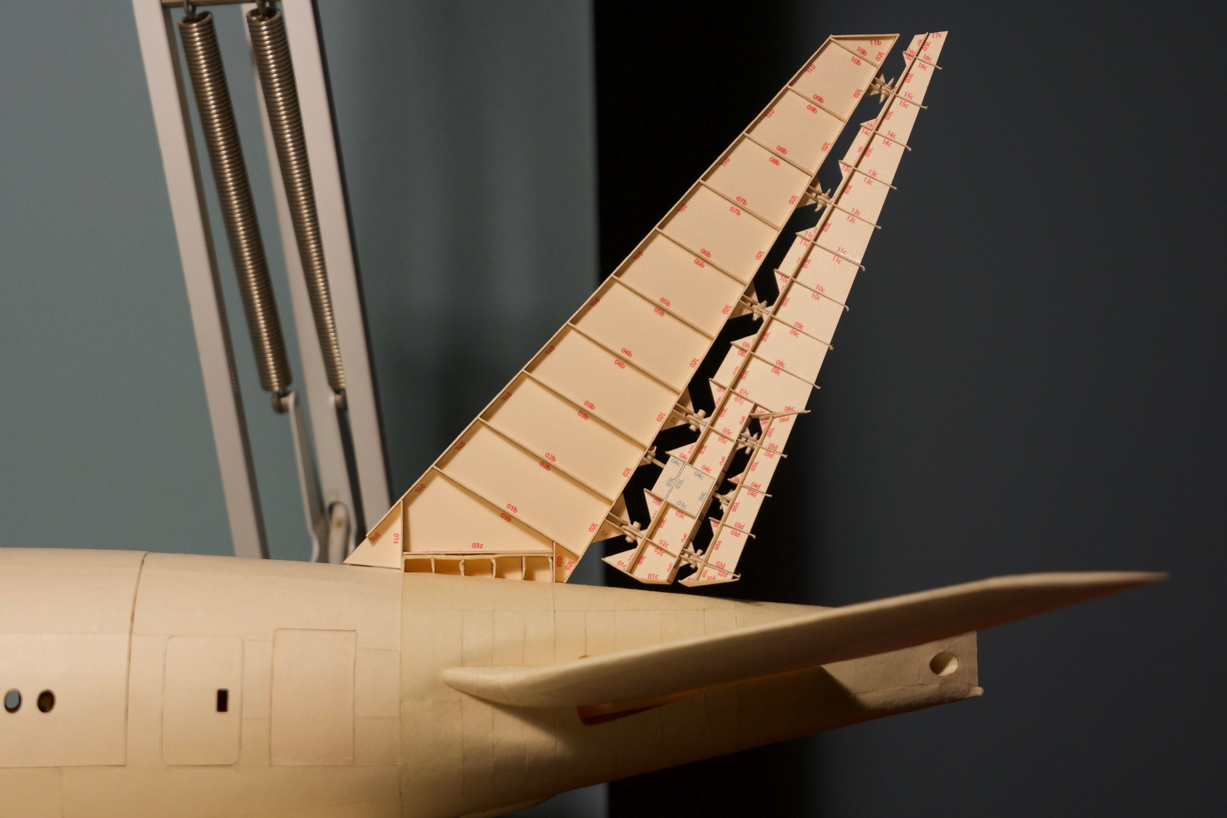 The new tail fin/horizontal stabilizer, showing its interior structure