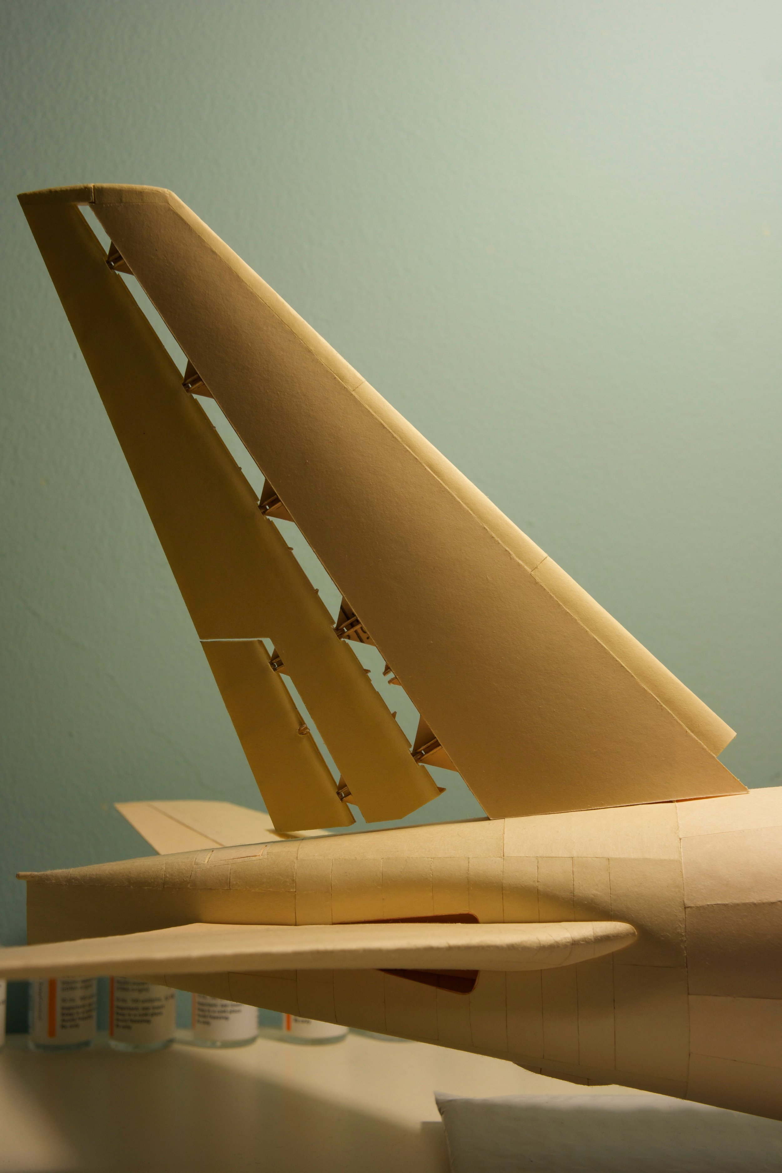 The new tail fin with most of the skin applied