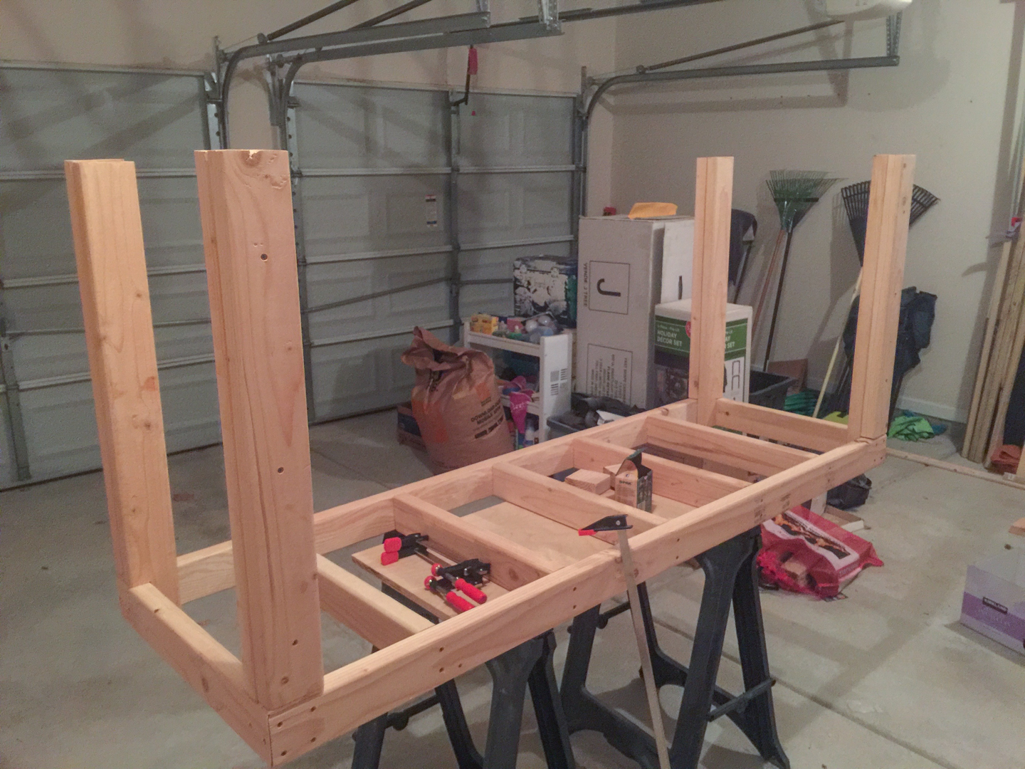 First Workbench - Legs Installed to Upper Frame