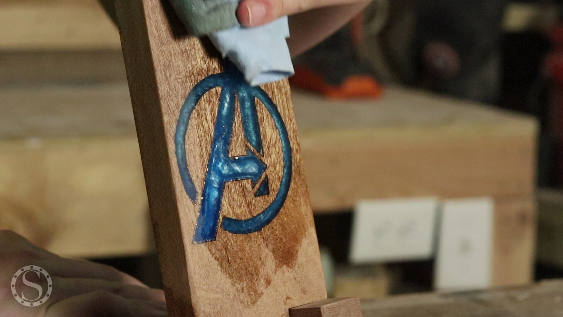 Avengers Phone Holder - Applying Simple Finish to the Mahogany and Epoxy