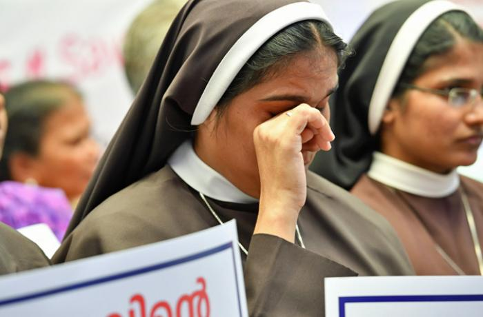 Nuns from Missionaries of Jesus Catholic Church speaking against sexual assault in Kerala, India