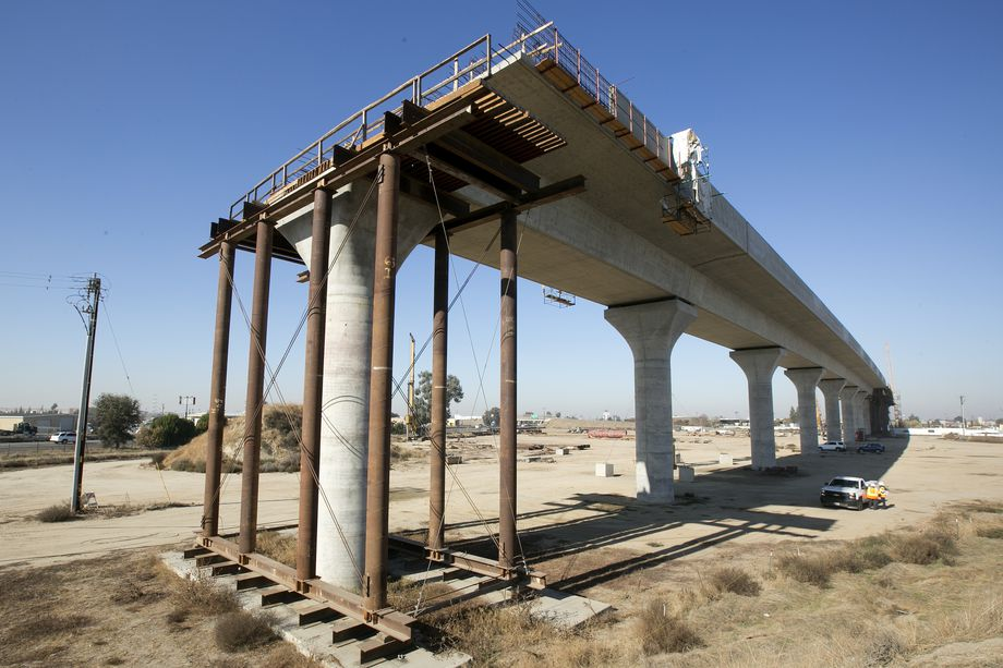 High Speed Rail sections under construction in Fresno, California. (Rich Pedroncelli/Associated Press.)