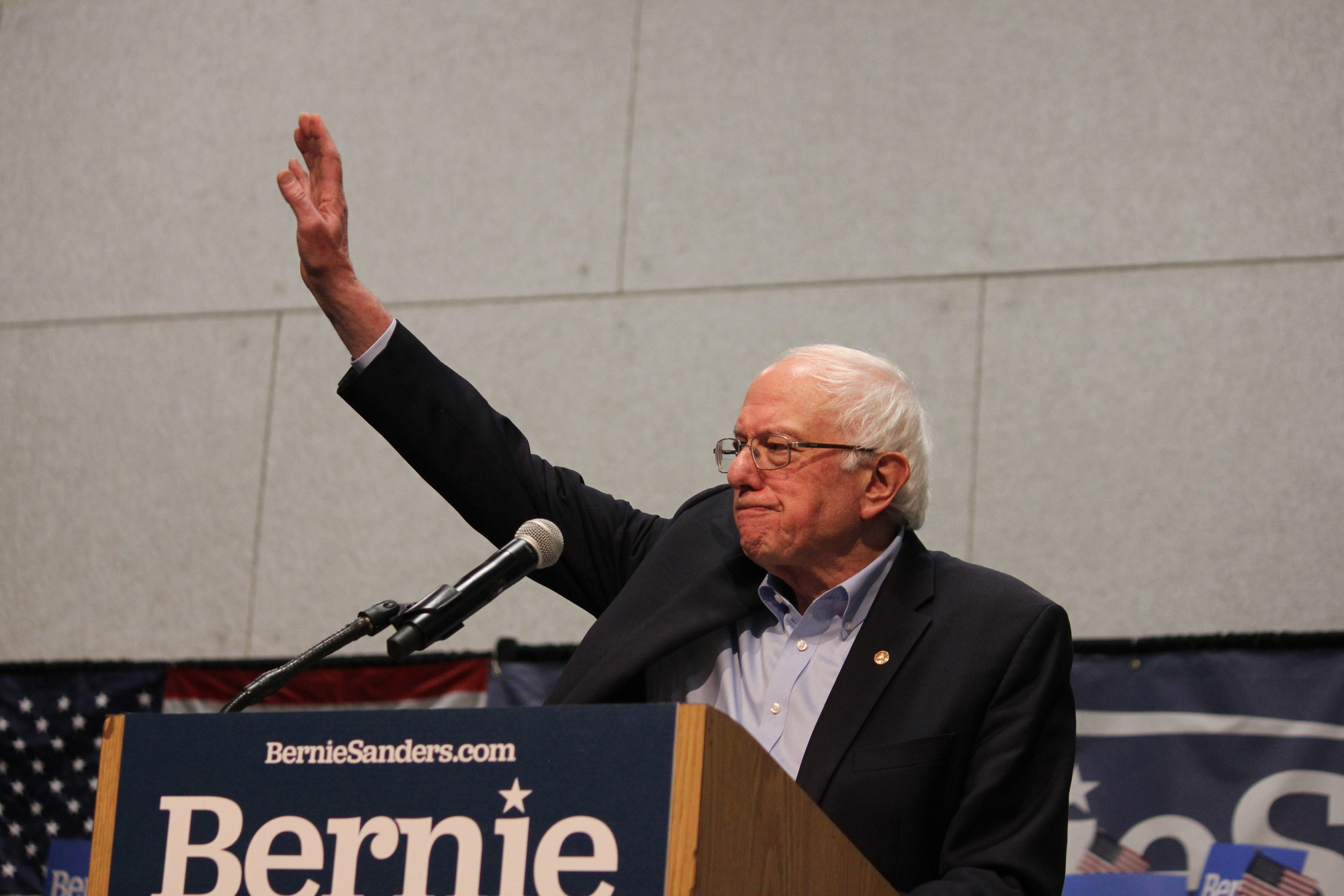 Sen. Bernie Sanders (I-VT) speaks to supporters at a rally at the Mid-America Center in Council Bluffs, Iowa. (Matt Johnson/Wikimedia Commons)