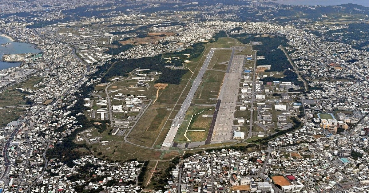 An aerial view of U.S. Marine Air Station Futenma. (Kyodo News/AP)