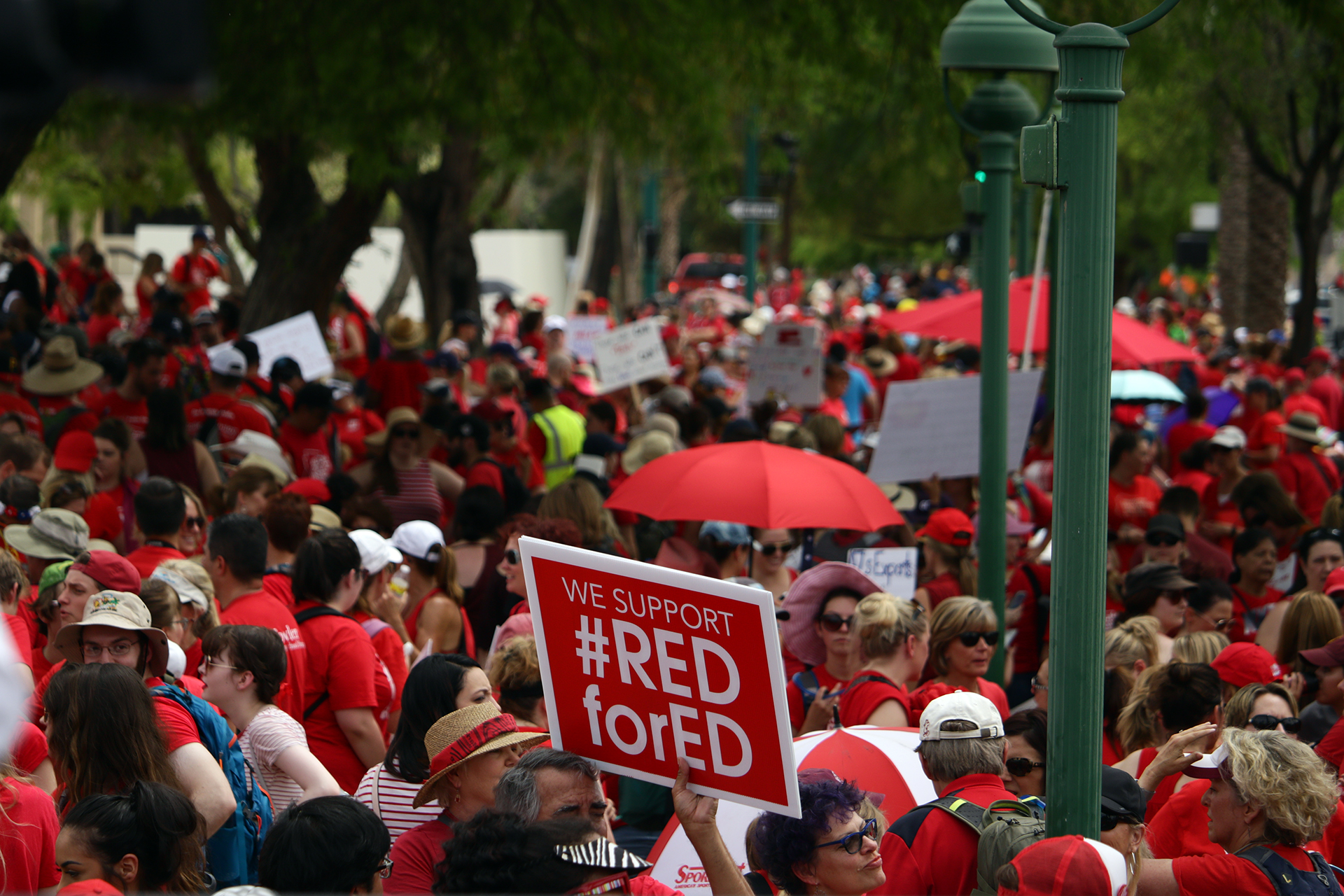 Supporters for #RedforEd holding protests on April 27th, 2018. (Jackie Hai/KJZZ)