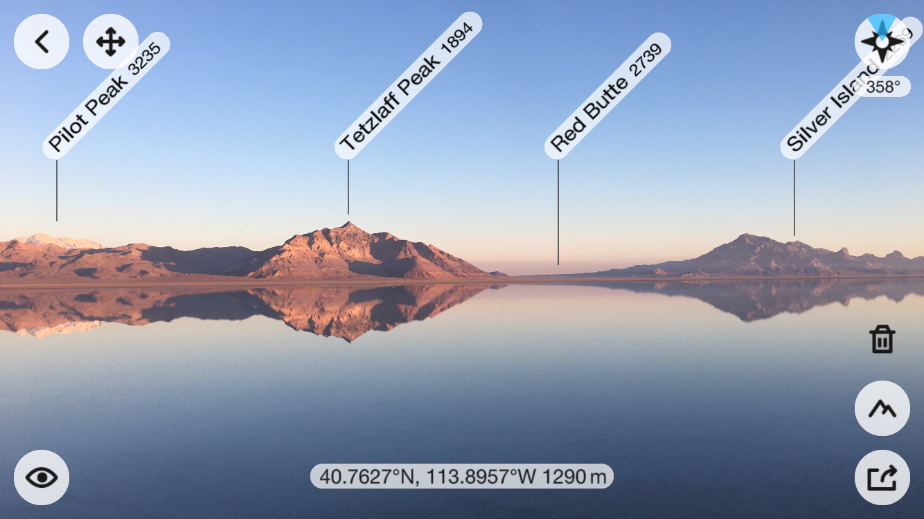 Image from my iPhone 6s from the PeakFinder app with the peak overlay information on the image.