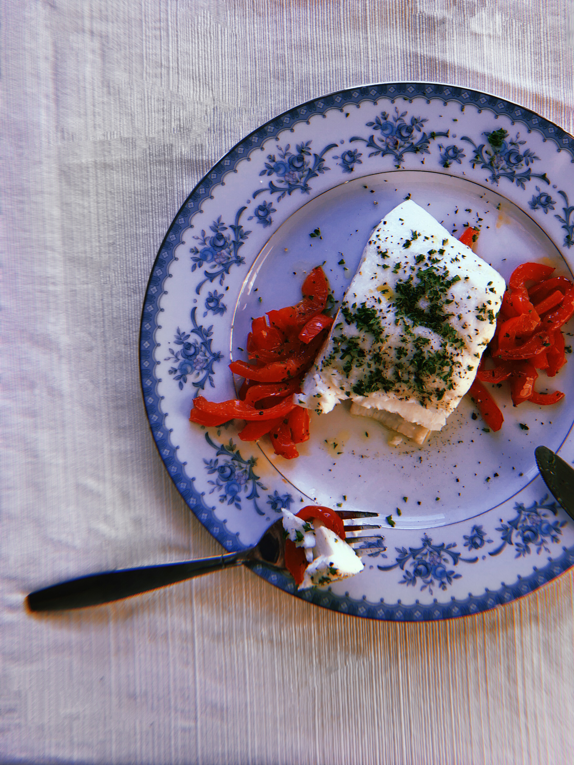 - white-fish with marinated red peppers