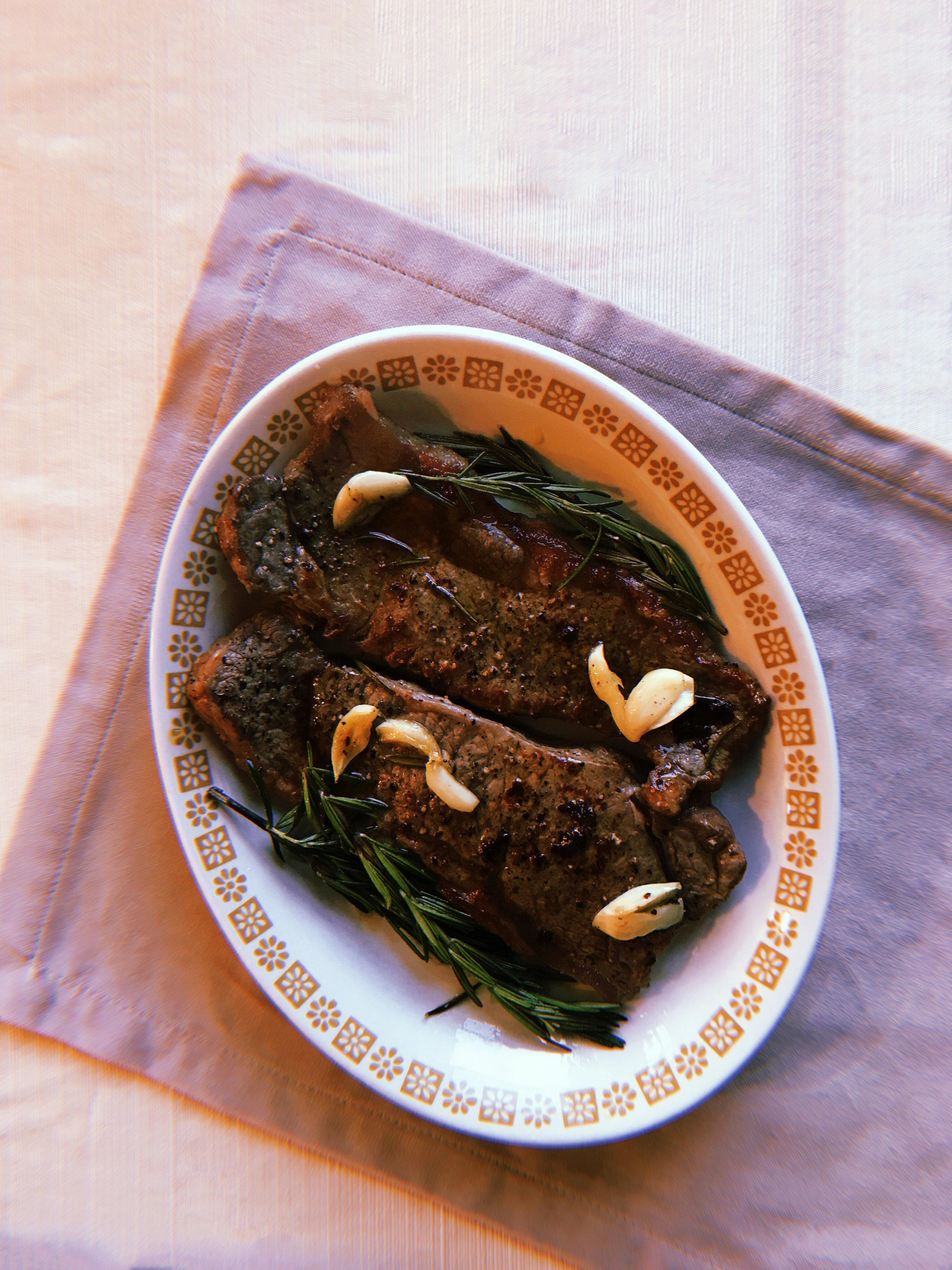 - Steak with Rosemary aglio olio