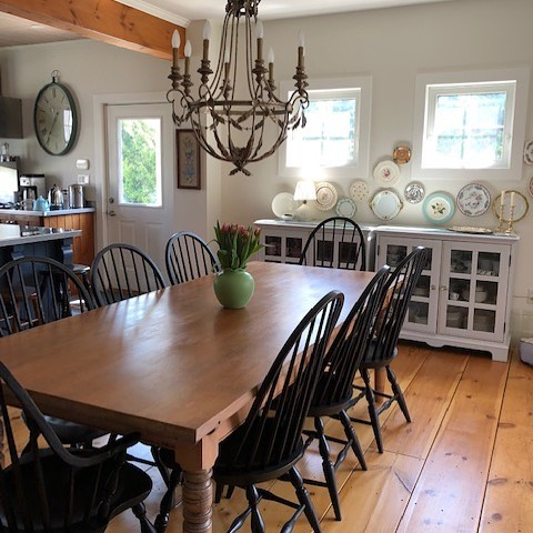 It's always great to see the final destination for our custom builds. This 8' custom pine table and set of  8 painted Windsor chairs looks very much at home in a family cottage. Follow us Landandross.com #custombuild #pine #paintedfurniture #chairs  #ontarioswestcoast #cottagelife #shopshakespeare #homeinteriors #bayfield #antiques #buycanadian