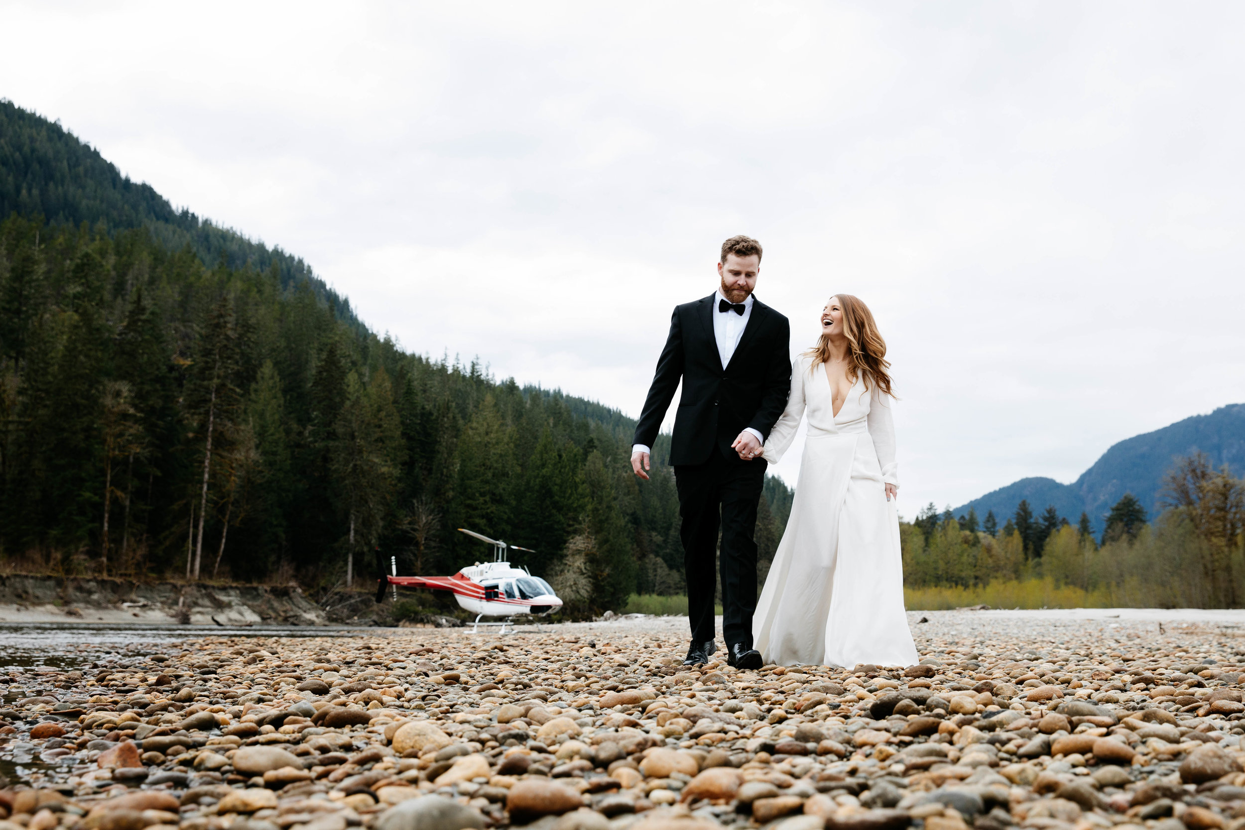 We loved this Heli Elopement so much! The fact that we were in our home town + getting dropped off on a sand bar in the middle of a remote section of the Squamish river surrounded by wilderness was simply stunning.This was perfect for Emily and Heath since they wanted their experience to be intimate and save the celebration for afterwards with friends and family.What a perfect way to get married, super simple to plan with minimal logistics, which makes it easy to be fully present and really soak up the romantic experience of the day.We could feel it, and we're honoured to have been a part of it. -