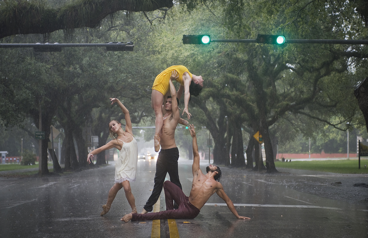 Four Dancers in Rain