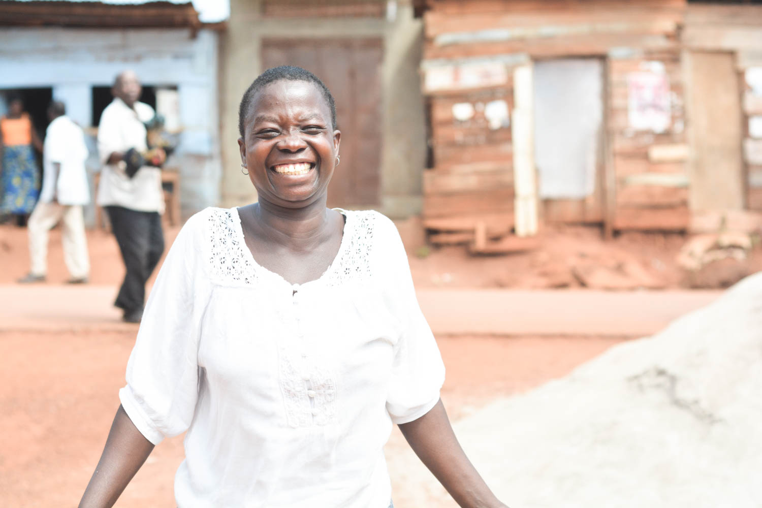 In addition to jewelry-making, Nakamya Joyce took out a loan from Mabira to start a peanut-growing business. During harvest season, she is able to hire and oversee over 30 men to work her land! Her almost constant laughter is contagious.