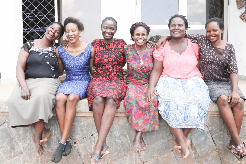 From left to right: Nagawa Madiina, Finance Supervisor; Ndyose Naome, Assistant Manager; Kyambadde Christina, Managing Director; Ochitti Grace, Education Specialist; Naluyange Cathy, Production Supervisor; Birungi Cissy, Purchasing Officer