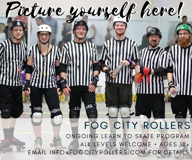 Team Zebra can always use new recruits too!! You don't have to be a Pirate or a Siren to be a part of team #fogcityrollers!  We'll teach you how. See bio for Learn to Skate info!  #teamzebra 📷: Richard Lafortune