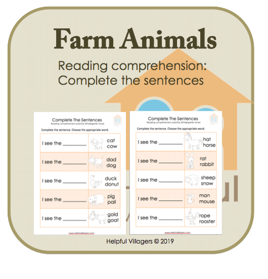 Complete the sentences using the farm animals as clues. Includes 2 sheets.
