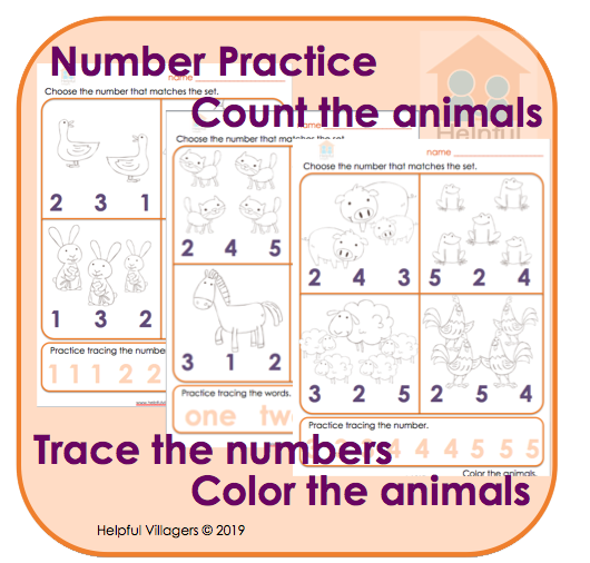Early number practice. 3 pages of counting, tracing and matching. Fun and FREE!