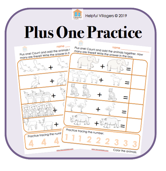 Counting and adding practice. 3 FREE pages for early learners.