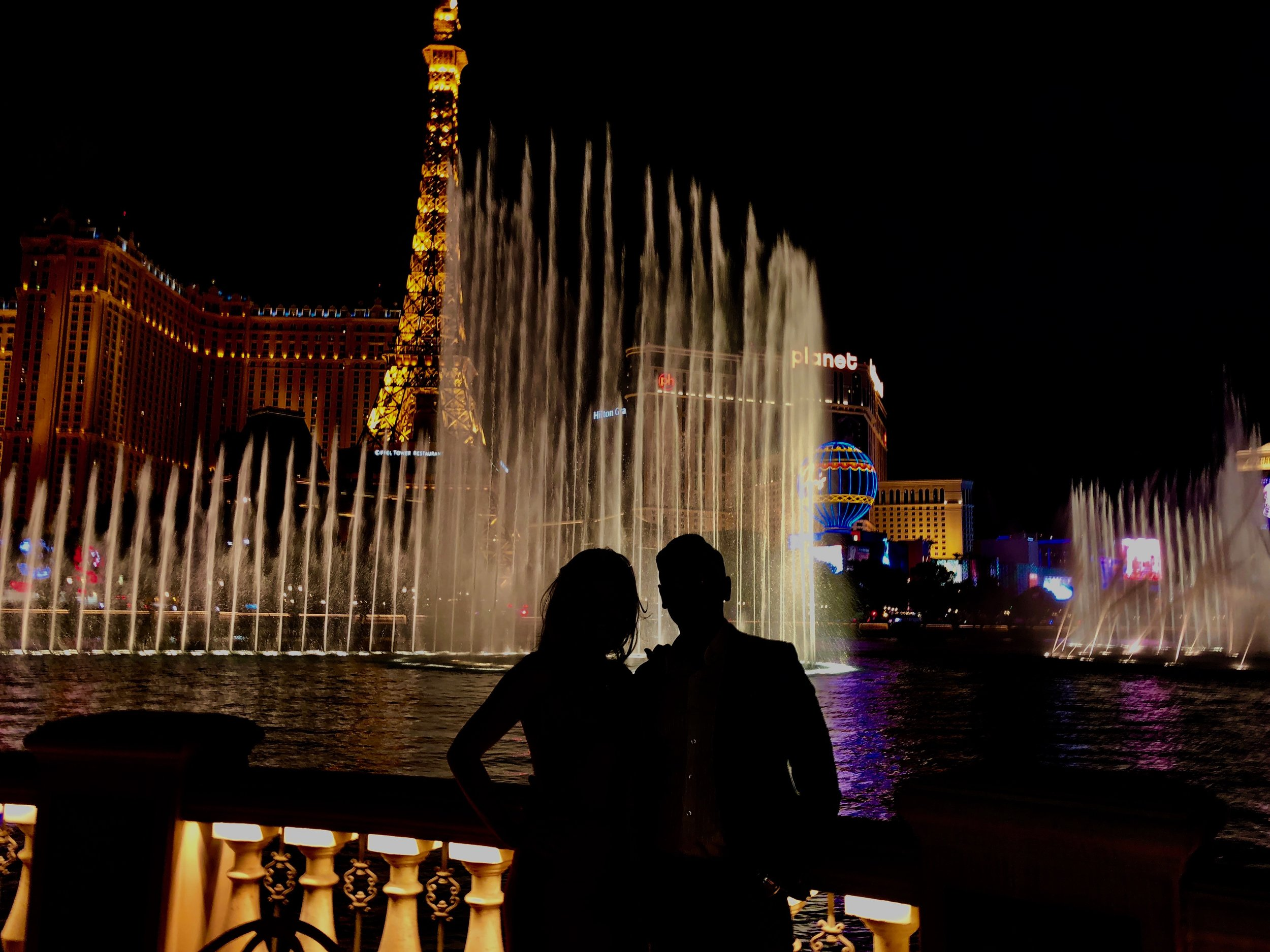 The view of the Bellagio Fountains at Picasso.