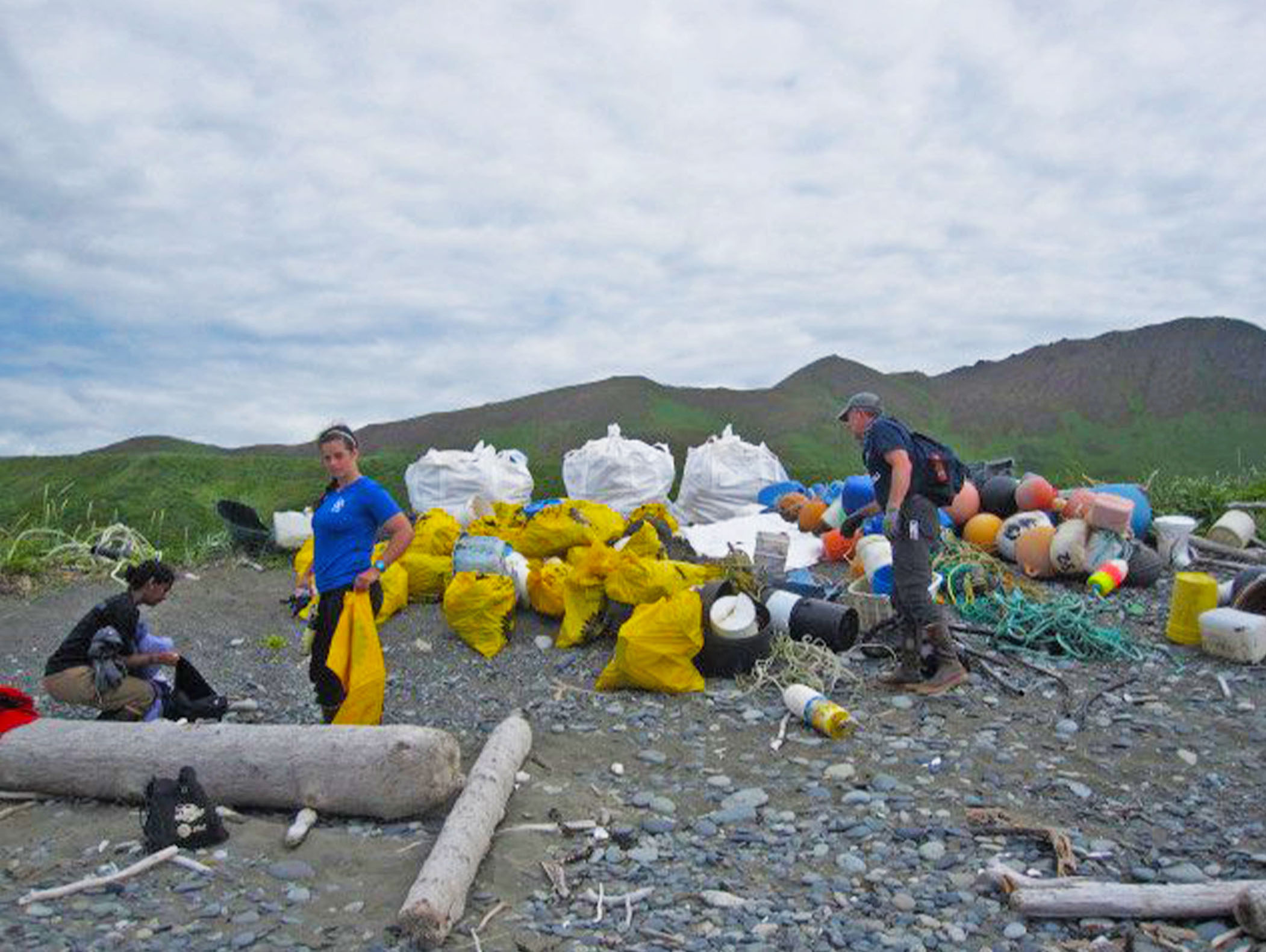 Debris on the shores of Halibut Bay