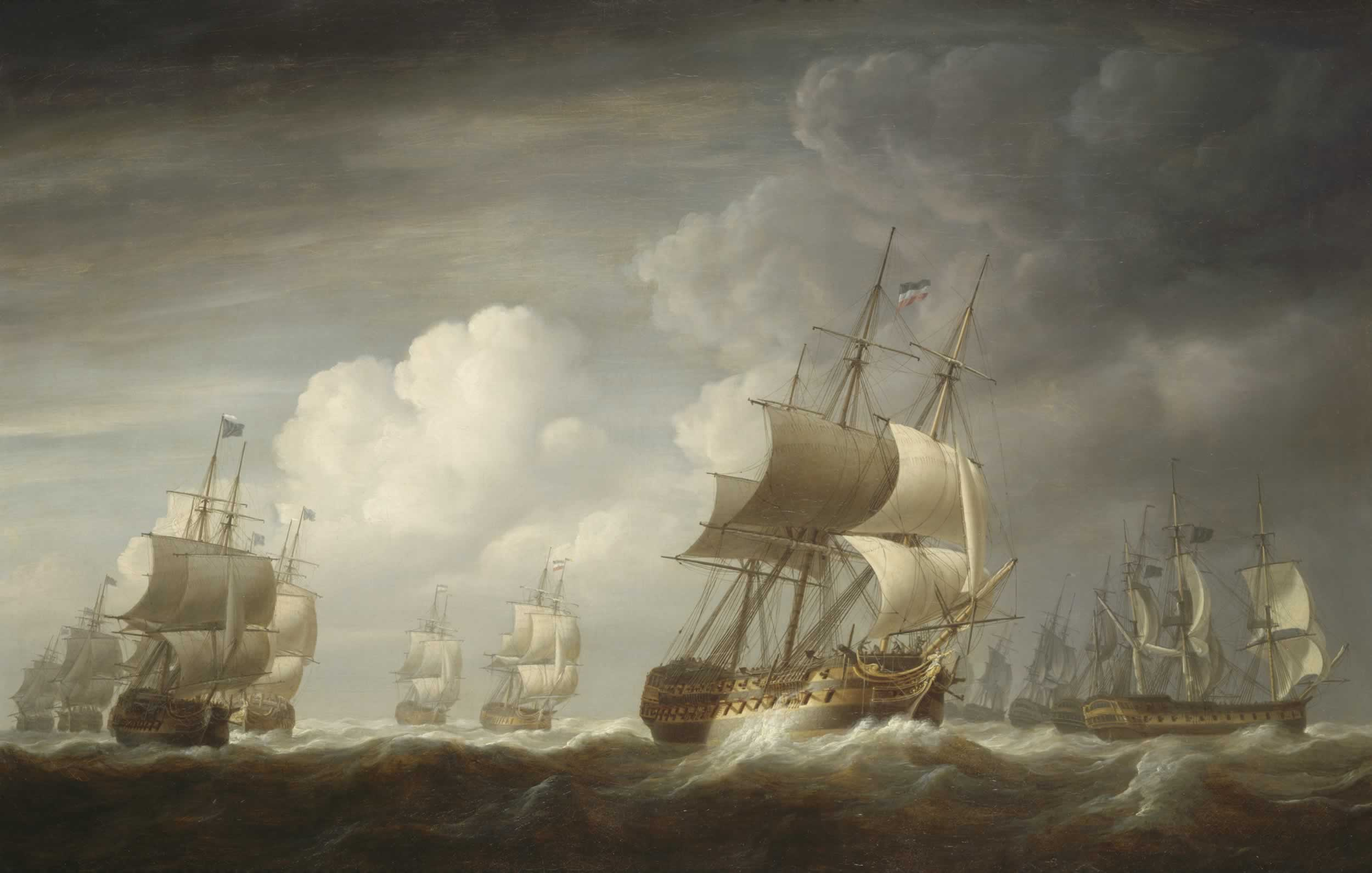 Nicholas Pocock: A fleet of East Indiamen at sea, 1803