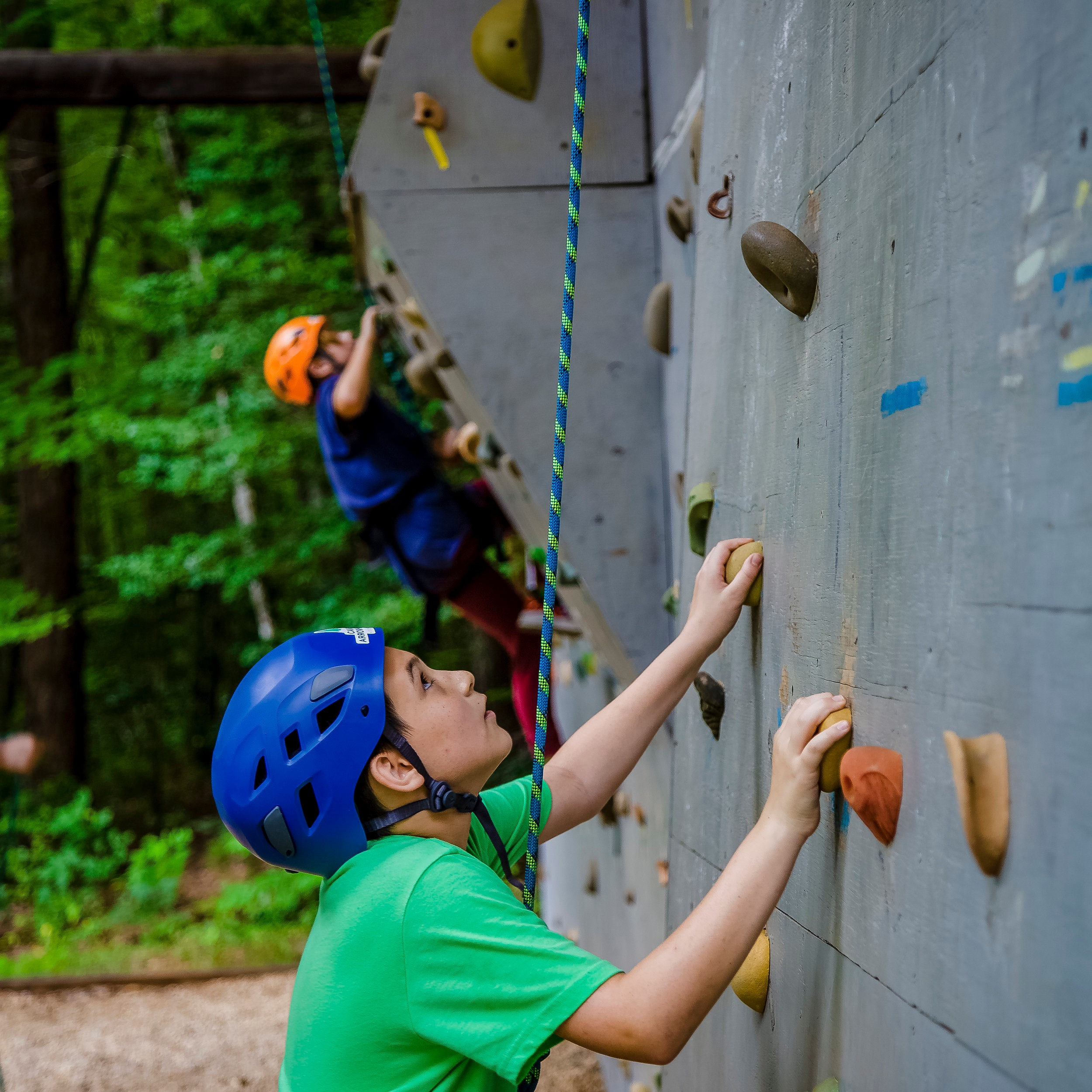 Climbing Wall - With a roof overhead, boys can climb the wall at Arrowhead rain or shine! Our wall has routes of varying difficulty to learn the basics, prepare for an out-trip, or spend some free time pushing your limits. In addition to climbing skills, boys will learn knots and belaying skills as they work through the climbing progression.