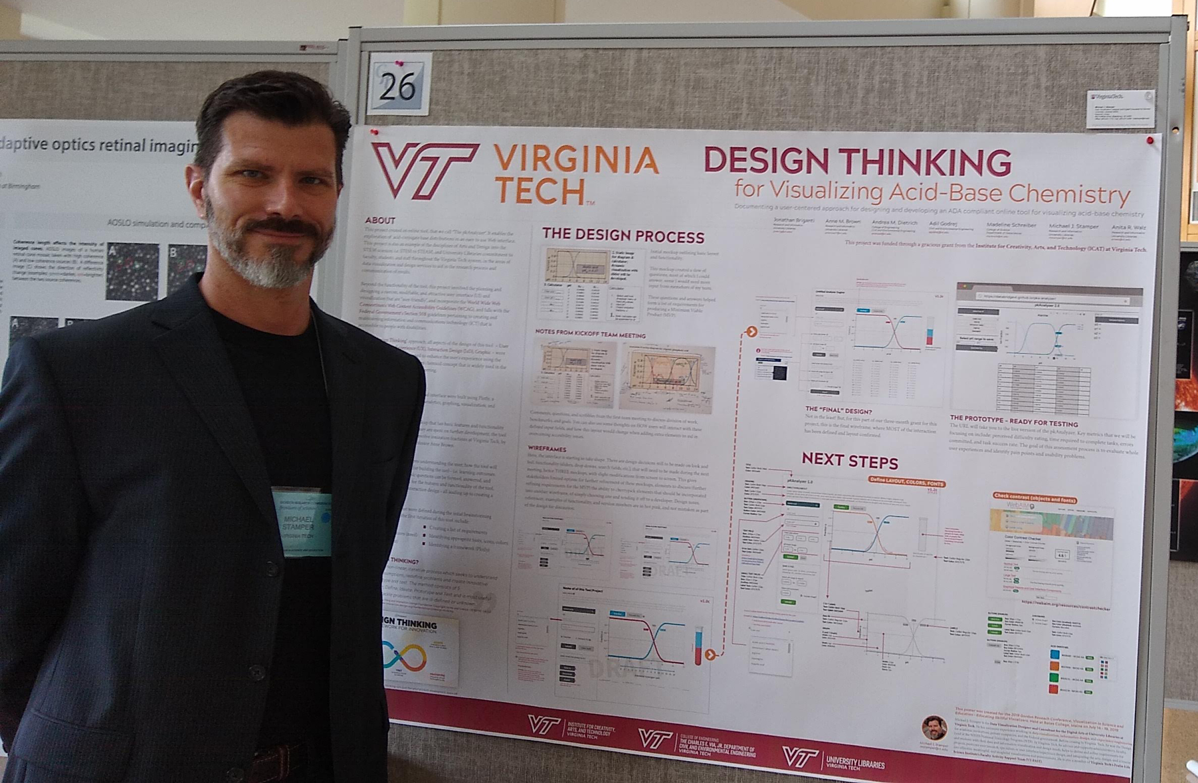 """PRESENTING A POSTER ON """"DESIGN THINKING"""" AND DESIGN (VISUAL/UI/UX) THAT I IMPLEMENTED FOR A GRANT-FUNDED PROJECT. THIS WAS AT THE 2019 GORDON RESEARCH CONFERENCE ON DATA VISUALIZATION & EDUCATION (HTTPS://BIT.LY/2Y3XBTP)."""